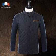 Langmeng 2015 новое прибытие зимний пиджаки мужчин теплые куртки мужчины назад шить дизайн куртки пальто мужчины бренд случайные куртки