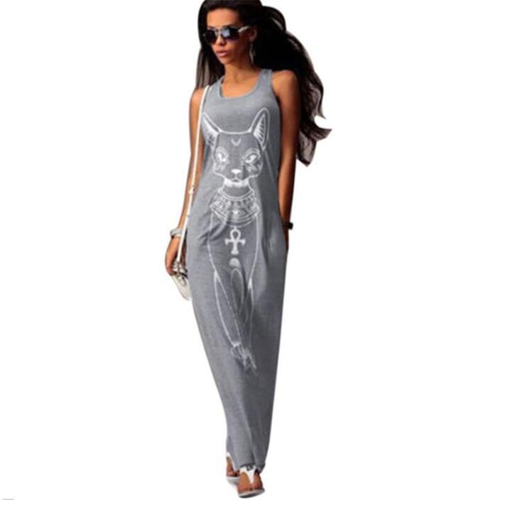 Gato impresión Long Maxi vestido mujeres 2017 verano Boho Beach Bodycon vestido elegante Noche Vestidos de Fiesta túnica Vestidos S-XL