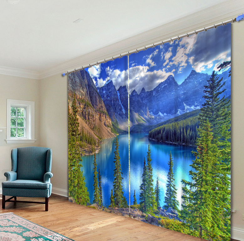 الغابة المشهد بحيرة الصور 3D ستائر التعتيم غرفة المعيشة الفراش غرفة ديكور المنزل نسيج سجادة للحائط الستائر Cotinas-في ستائر من المنزل والحديقة على  مجموعة 1