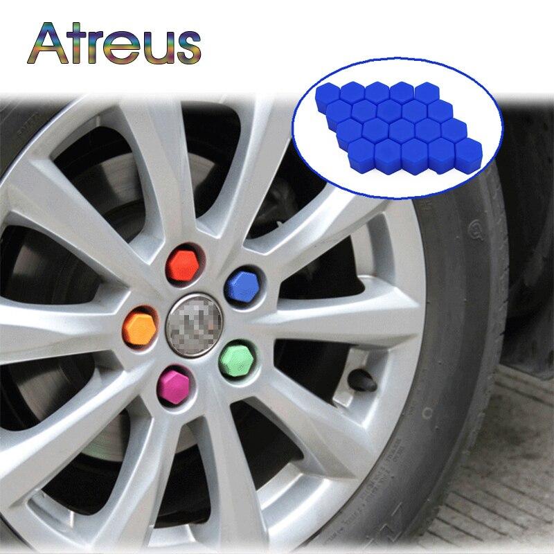 20Pcs Silicone Car Wheel Hub Screw Cover Nut Caps For Peugeot 308 307 206 Citroen C4 C5 Skoda Octavia A7 A5 Rapid Opel Astra H J