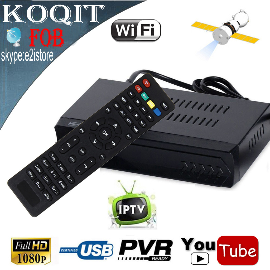 FOB Free To Air DVB-S2 Digital Satellite HD Receiver + IPTV Combo Support Youtube IKS Cccam Newcam Power vu Biss Key USB Record