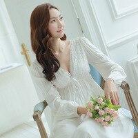 Nova Primavera Camisolas Com Decote Em V Senhoras Vestido de Noite Do Vintage Vestidos de Princesa Branca Vestido Longo Roupa de Dormir Sexy Sleepwear Rendas de Casa