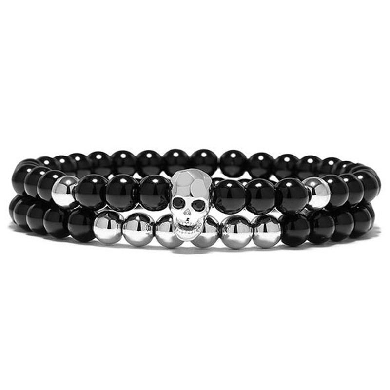 DIEZI One Sets 6mm Black Energy Yoga Skull Charm Bracelet For Men Women Natural Stones Buddhist Strand Beads Bracelets Jewelry