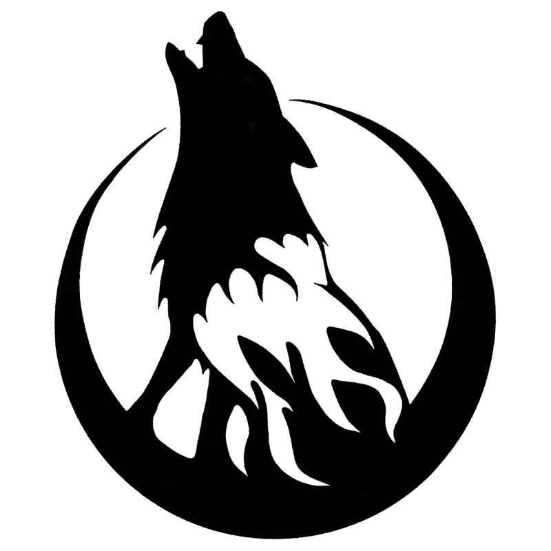 "FLAMING WOLF Vinyl Decal 8/"" x 3/"" 11 Colors"