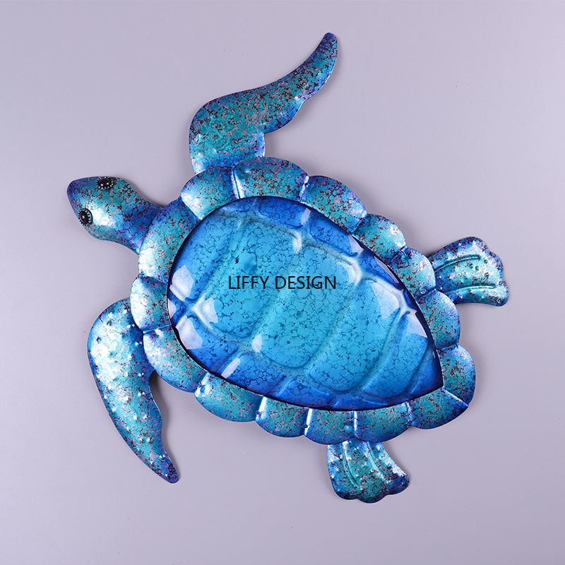Image 3 - Liffy Christmas Metal Turtle Wall Art Outdoor for Garden Decoration Animal With Glass Painting Statues Garden Ornaments for Wall-in Garden Statues & Sculptures from Home & Garden