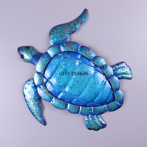 Image 3 - Liffy Gift Blue Metal Turtle Wall Artwork for Garden Decoration Outdoor Animal for Garden Statues Miniatures and Sculptures Yard