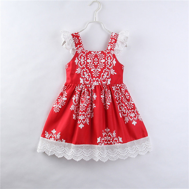 Cute Ruffles Floral Dress For Girls Summer Toddler Baby Girls Princess Dresses Party Pageant Red Tutu Lace Patchwork Dress 2-7Y