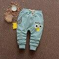 2017 Novo Estilo de Primavera Do Bebê Crianças meninos Meninas Crianças Casuais Rã bonito Padrão de Olho Haren Solto Longo Calças de Comprimento Total calças