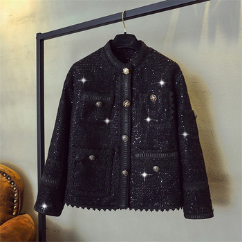 Luxury Designer Brand Jacket for Women Fashion Stand Collar Single Breasted Sequined Lace Short Coat Black