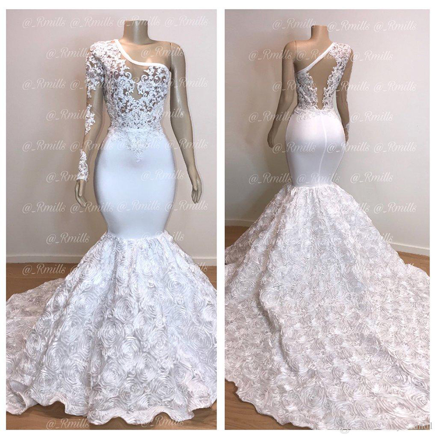 New Gorgeous One Shoulder White Mermaid   Prom     Dresses   2019 Long Flower Train Lace Applique Evening   Dresses   Pageant Party Gowns