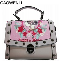 GAOWENLI Brand 10 Colors Flower Print Rivets PU Leather Handbags Women High Quality Bags Designer For