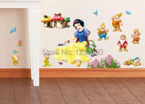 Diy белоснежка и семь гномов стикер стены термоаппликации съемный искусство Kid