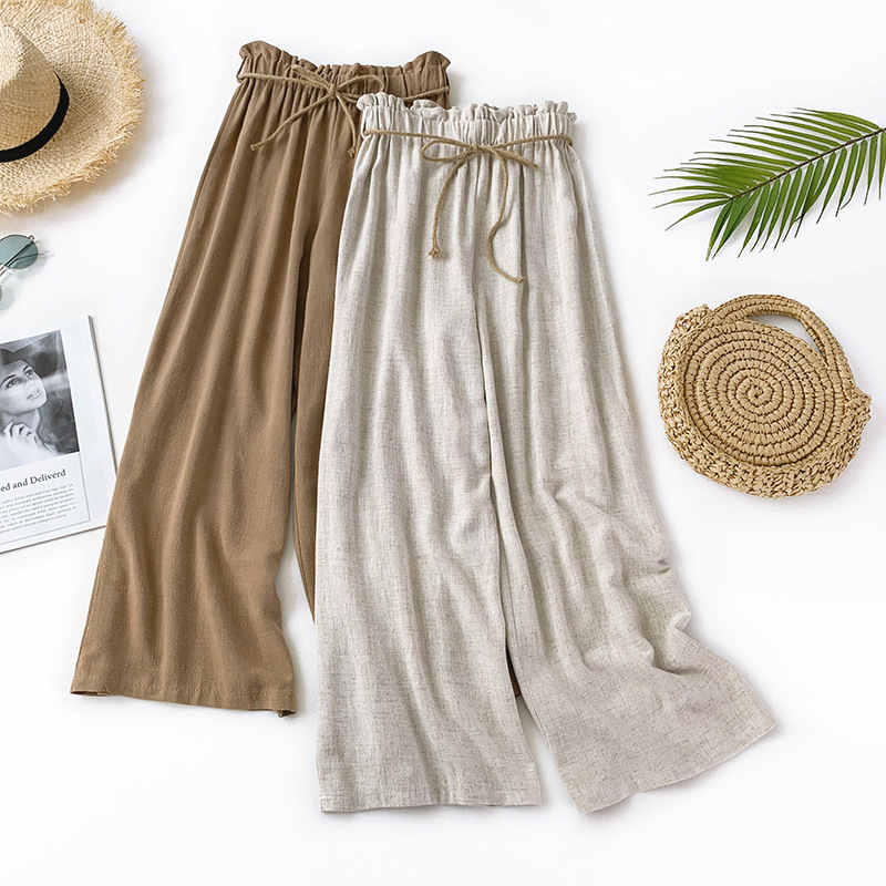Vintage Loose Linen High Waist   Pants   Women 2019 Solid Sashes   Wide     Leg     Pants   Summer Casual Ankle-Length   Pants   Jupe Femme