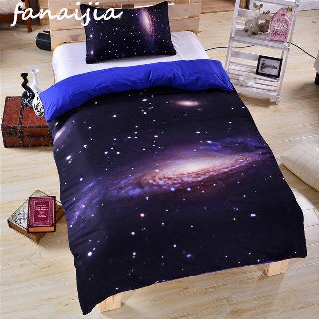 Moda simple 3D espacio Ropa de cama conjunto Galaxy Fundas