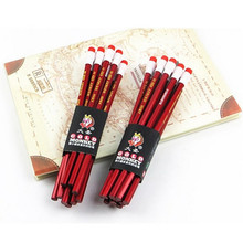 10pcs/ lot Standard Pencil cute stationery  student HB pencil cartoon painting lyrate pencil with eraser  high quality