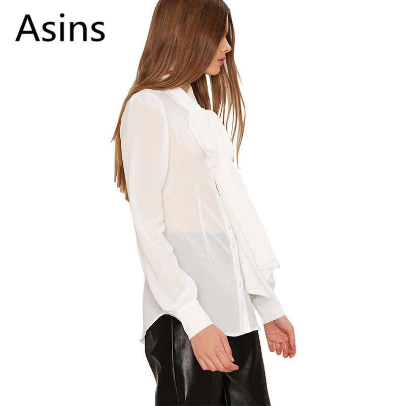 Asins для женщин S Топы корректирующие и блузки для малышек Лето 2019 г. Новый Повседневное Мода V образным вырезом сплошной цвет с длинным рукаво