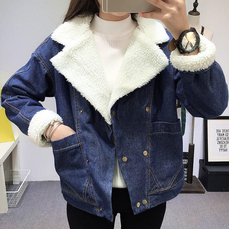 Denim   parka   women 2018 Winter Jacket Women Coats Blue Coats Female   Parka   Thick Cotton Padded Lining Winter Female Coats
