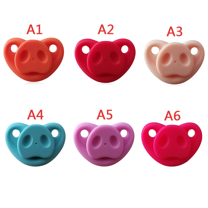 Baby Pacifier Whole Silicone Newborn Orthodontic Dummy Pacifier Nipple Infant Kids Silicone Teat Pig Nose Nipple Soother
