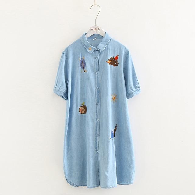 0dfd43f2e188 2019 summer new childlike cartoon embroidery denim dress female lapel short-sleeved  dress