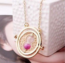 Hot Sale Harry Potter Time Turner Necklace Hermione Granger Rotating Spins Gold Hourglass N0031