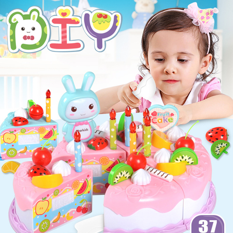 37Pcs DIY Pretend Play Kitchen Toys Fruit Birthday Cake Cutting Toys Kitchen Food Girl Games Play