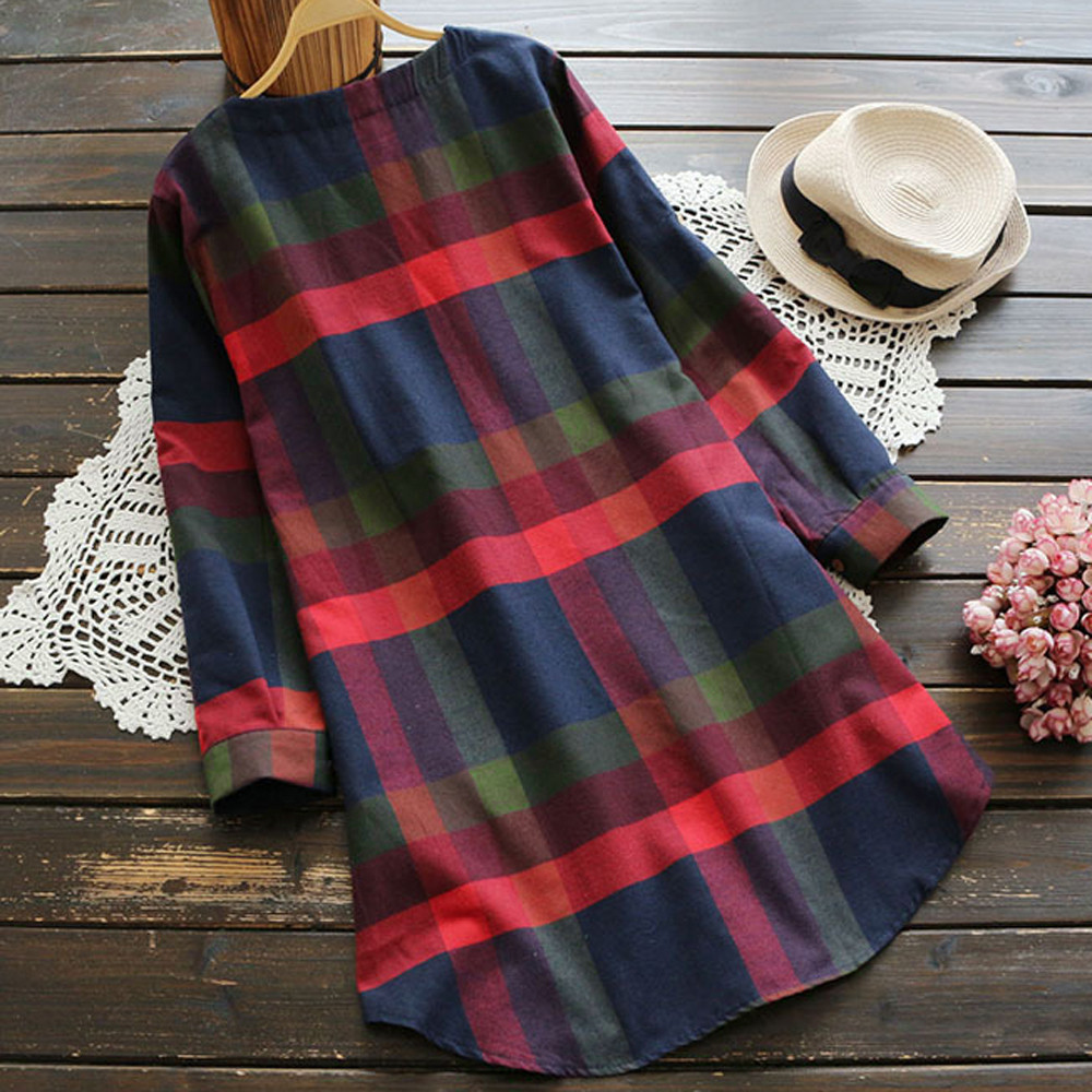 Women Dress Ladies Fashion Plaid Long Sleeve Loose Pocket Swing Vintage Autumn Winter Dress Casual vestidos