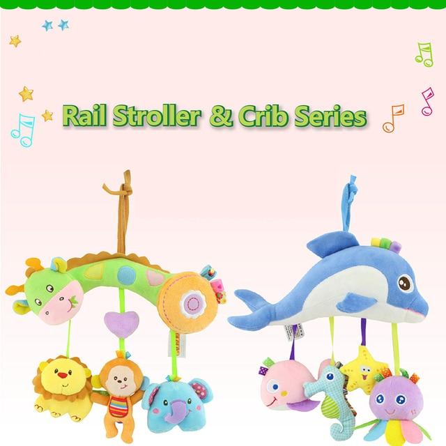animal theme soft musical crib stroller baby toys plush mobile on