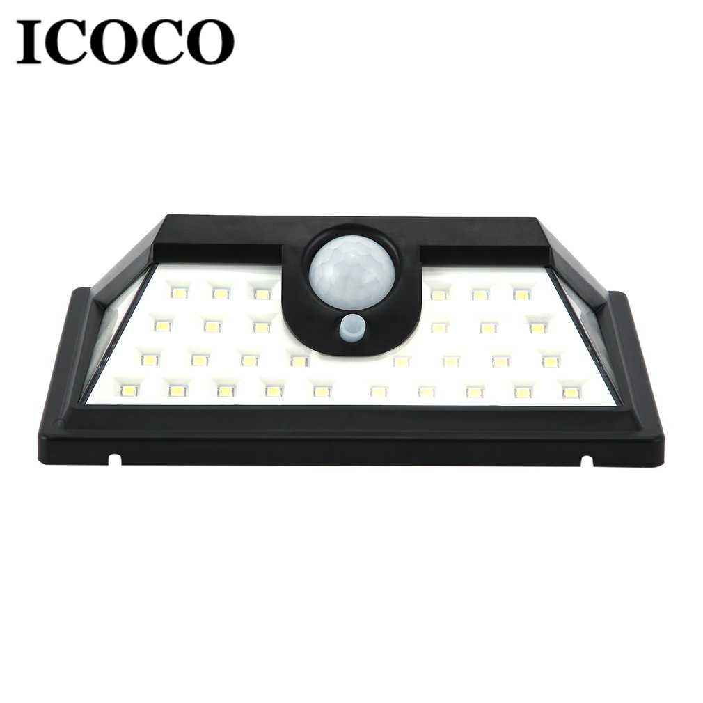ICOCO 20 32 42 45 62 92 LED Solar Power PIR Motion Sensor Wall Lamp Emergency Saving Security Light for Outdoor Waterproof in Solar Lamps from Lights Lighting