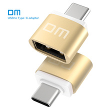 Free shipping DM Type-C Adapter golden USB C Male to USB2.0 Femail USB OTG converter for devices with typec interface