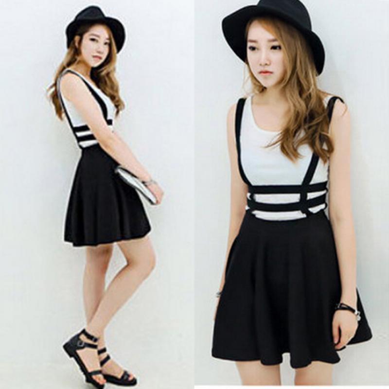 Mujeres moda dulce A-line vestido plisado total Suspender Braces Hollow Out vendaje sin mangas Mini Vestido Skater
