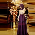 Purple Gold Lace Evening Dresses 2016 Muslim Hijab Bead Waist Chiffon Party Prom Gown With Long Sleeves Vestidos De Fiesta AR323