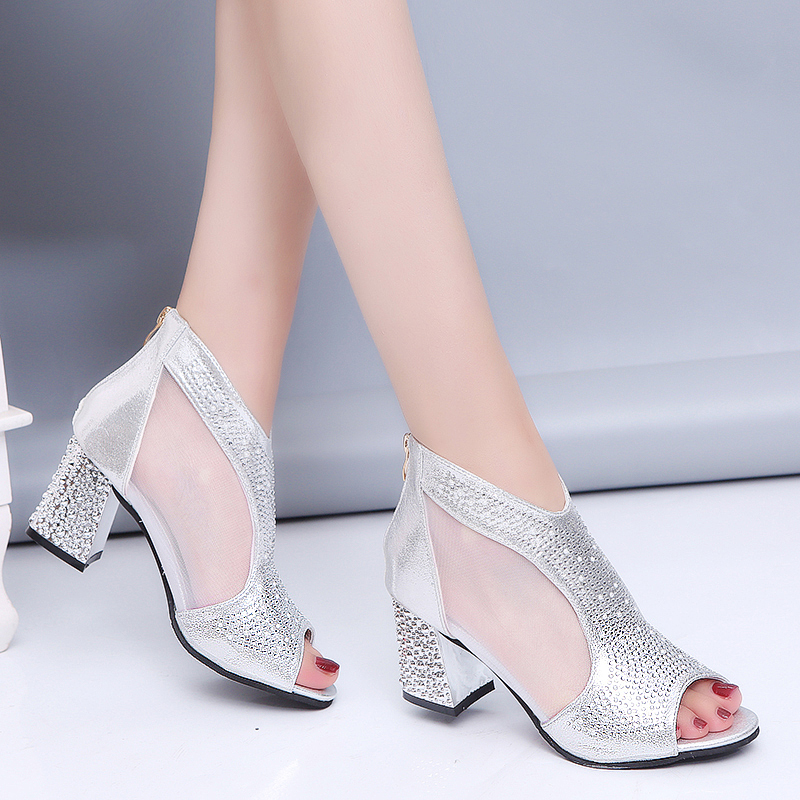 US $14.26 48% OFF|Lucyever 2019 Summer New Elegant Brand Mesh Sandals Crystal Peep Toe Sandals Woman Thick High Heels Breathable Ankle Boots in High