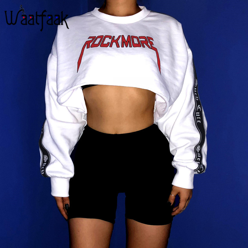 Waatfaak Oversize Crop Hoodies Sweatshirt Women Pullover Hoodies Cotton White Long Sleeve Top Patchwork Embroidery Sweatshirt