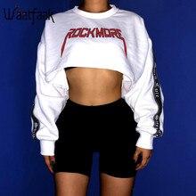 Waatfaak Oversize Crop Hoodies Sweatshirt Women Pullover