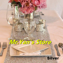 B·Y Gold Silver Sequin Table Runner 30x180cm 30x275cm for Party Tablecloth Weddings Decor Runners -64