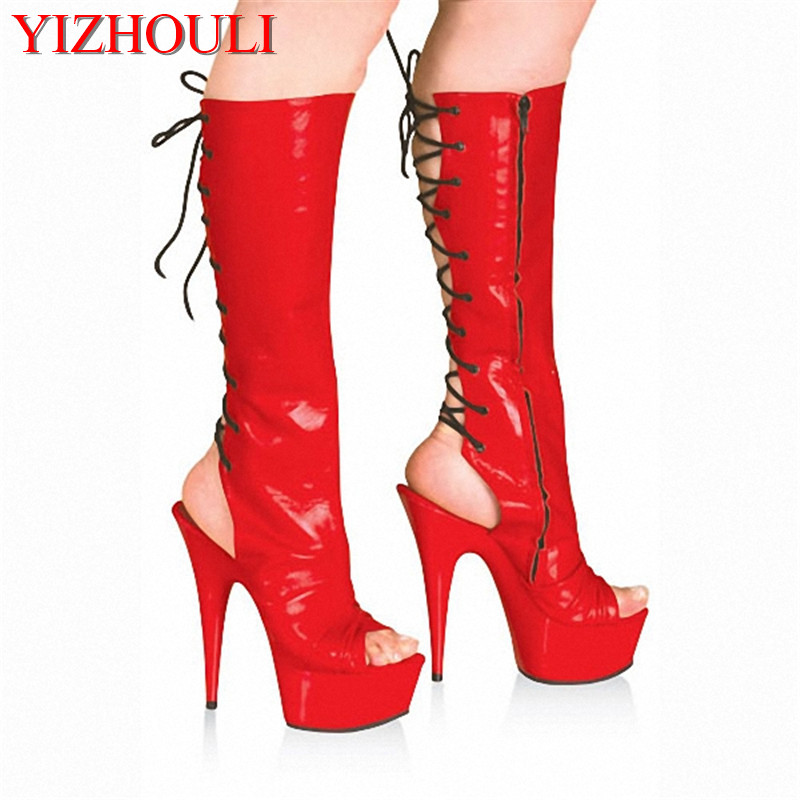 Star performance shoes 15cm high-heeled shoes sexy boots medium-leg back strap open toe shoes women's 6 inch Summer boots spaghetti strap chiffon open back dress