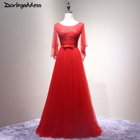 2017 Real Pictures Red A Line Evening Dress Elegant Open Back 3 4 Sleeve Women Long