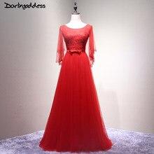 6ed61fe5a10 2017 images réelles rouge une ligne robe de soirée élégante Elie Saab 3 4  manches femmes longue formelle soirée robes vestito da.