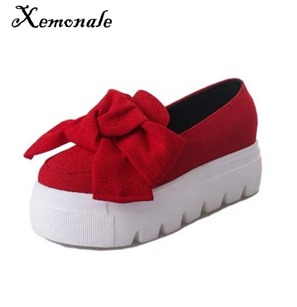 Xemonale Women Shose Spring Autumn Bowtie Muffin Heavy-bottomed Women Flats Fashion Loafers Women Casual Canvas Shoe