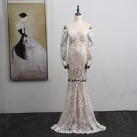 Elegant Vintage Lace Wedding Dress Long Sleeve Court Train Button Back Mermaid Wedding Bridal Gowns