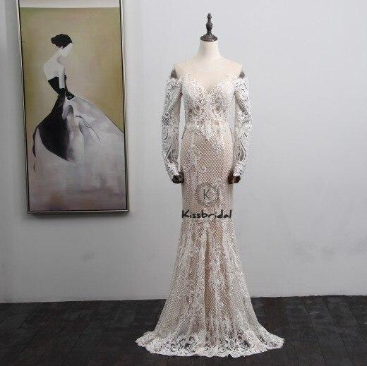 Elegante Vintage Spitze Hochzeit Kleid Langarm Gericht Zug Button Zurück Meerjungfrau Hochzeit Brautkleider