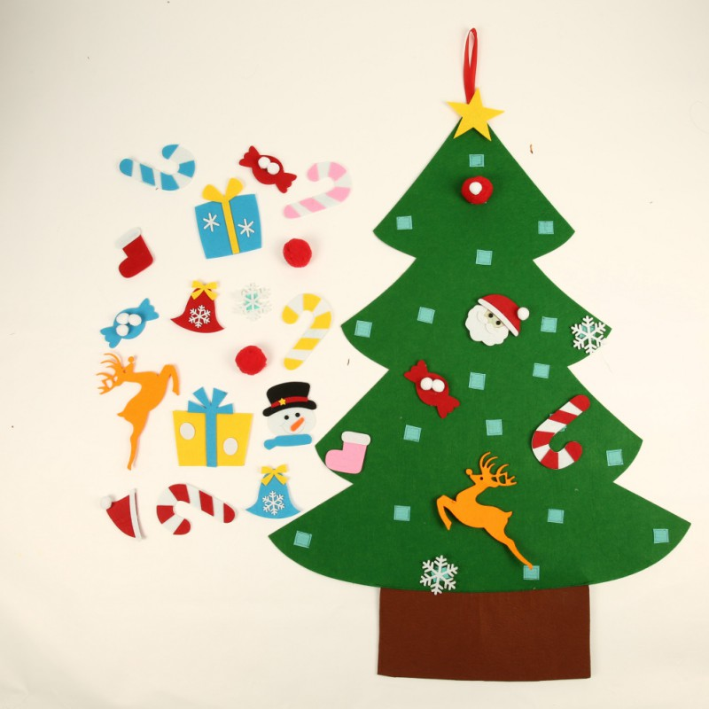 Kids DIY Felt Christmas Tree with Ornaments Children Christmas Gifts for Door Wall Hanging Xmas Decoration