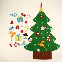 Дети DIY фетр Рождественская елка с орнаментами Детские Рождественские подарки для двери настенный Рождественский Декор 2018 Новый