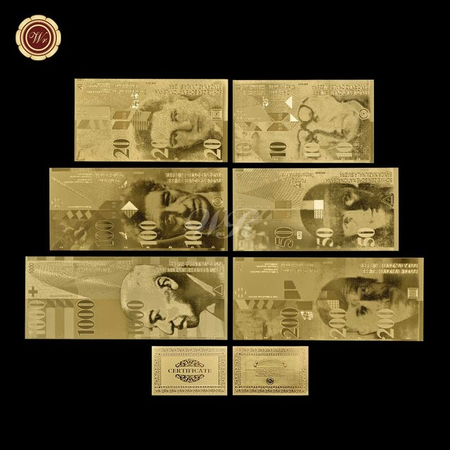 Switzerland Banknotes Gold Money 10 20 50 100 200 1000 Swiss Francs For Promotional Gift
