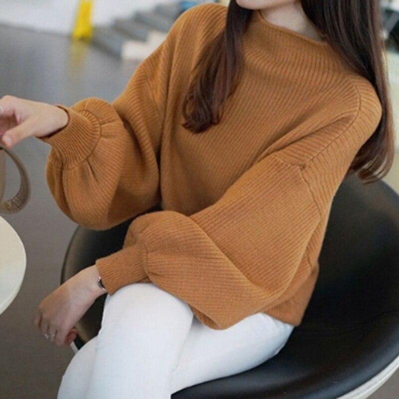 Bigsweety Women Lantern Sleeve Half Turtleneck 2018 Autumn Female Tops Women Sweater Clothes New Fashion Korean Tops 5 Colors