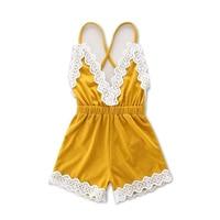 Dziewczynka Lato koronki Rękawów Romper kombinezon straped żółty dorywczo Ubrania Serek Sunsuit Stroje dla dzieci noszą