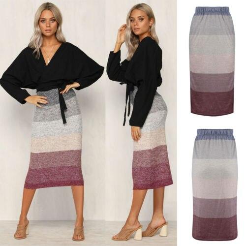 New Thick Warm Skirt Slim High Waist Stretch Long Knee Length Women Pencil Skirt