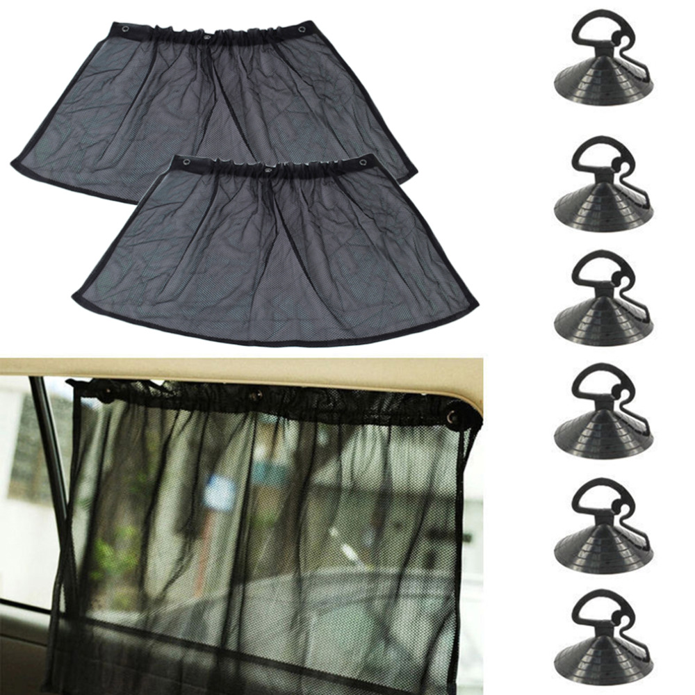 1 Pair Black Styling Car Sun Shade Side Window Curtain UV Protection Sunshade With Suction Cup Auto Hot selling Free Shipping
