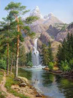 Landscape DIY Oil Paint Painting By Numbers Diy Picture Waterfall Drawing On Canvas Oil Painting By