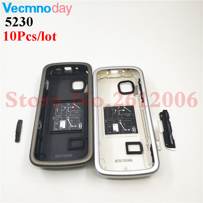 10Pcs/lot Housing <font><b>Case</b></font> For <font><b>Nokia</b></font> <font><b>5230</b></font> Battery Cover <font><b>Case</b></font> With Keyboard Mobile Phone Replacement Repair Parts image